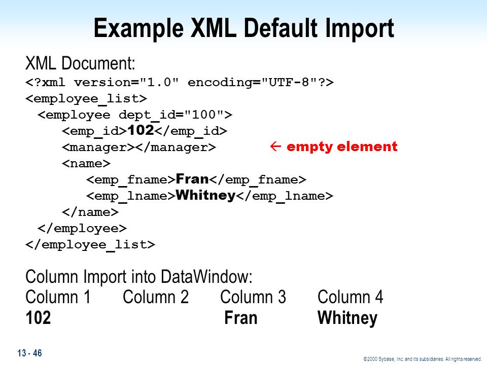Example XML Default Import