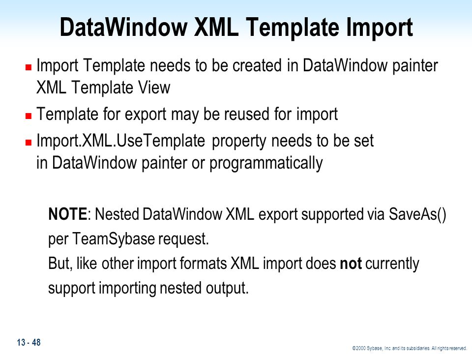 DataWindow XML Template Import