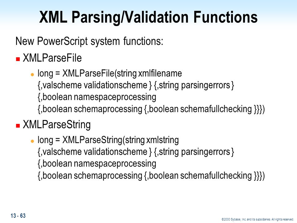 XML Parsing/Validation Functions