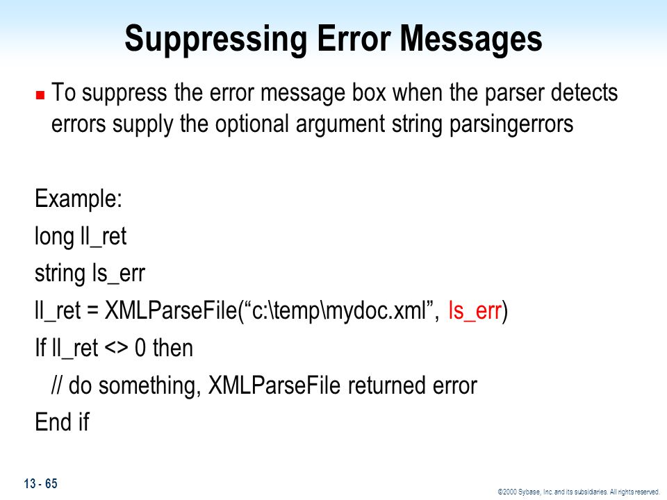 Suppressing Error Messages