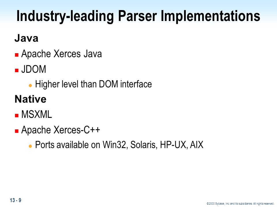 Industry-leading Parser Implementations