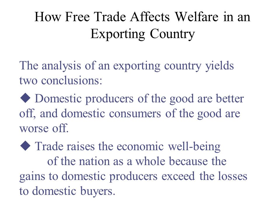 How Free Trade Affects Welfare in an Exporting Country