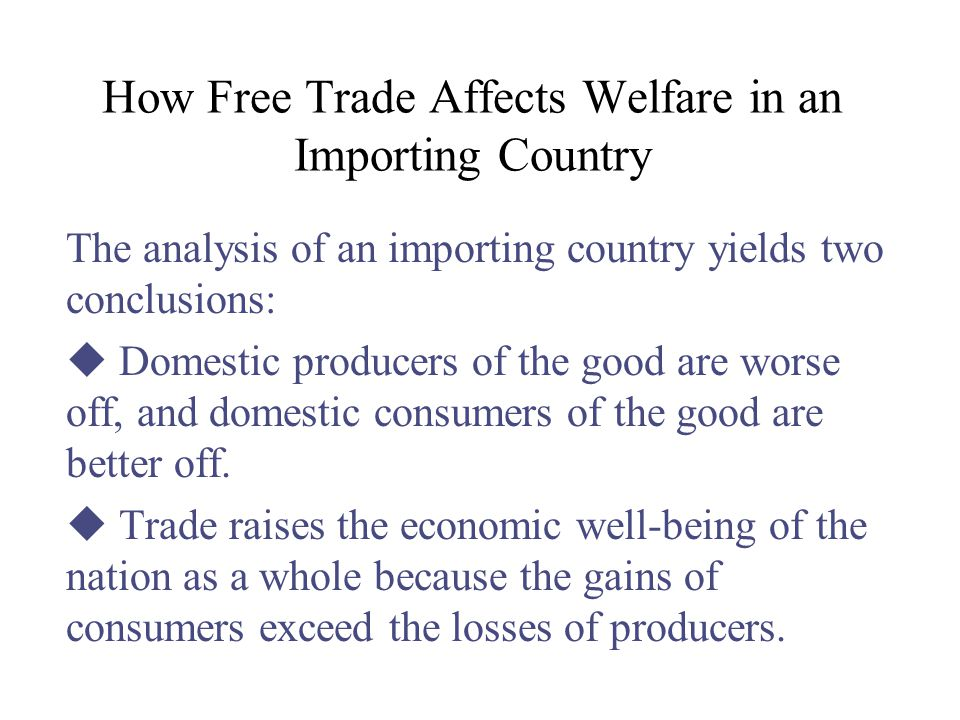 How Free Trade Affects Welfare in an Importing Country