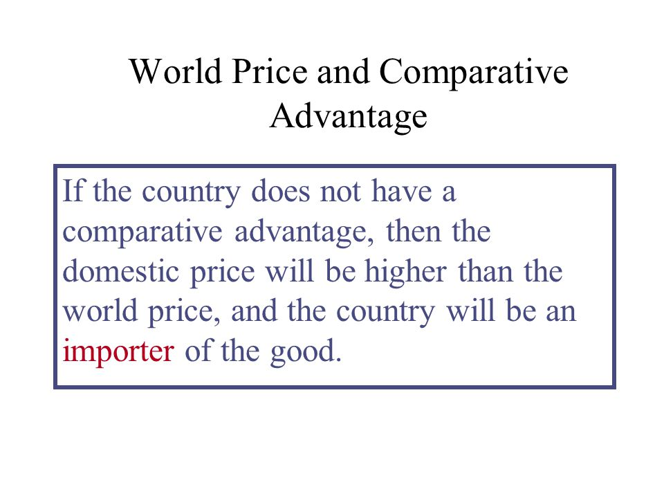 World Price and Comparative Advantage