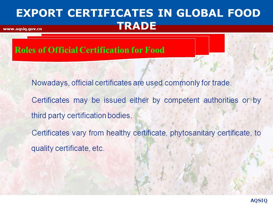 Export Certificates In Global Food Trade Mr Bi Kexin Aqsiq Ppt