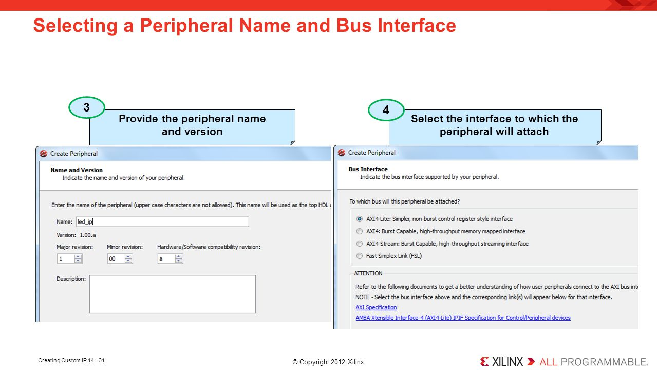 Selecting a Peripheral Name and Bus Interface