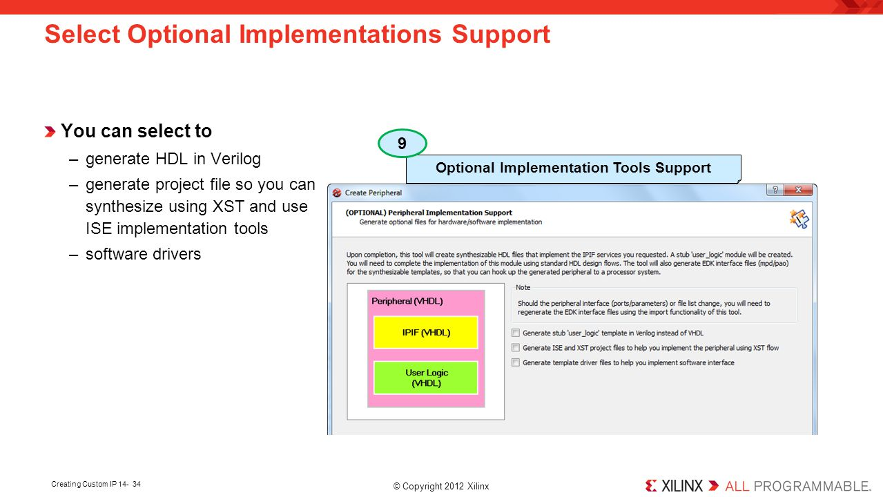 Select Optional Implementations Support