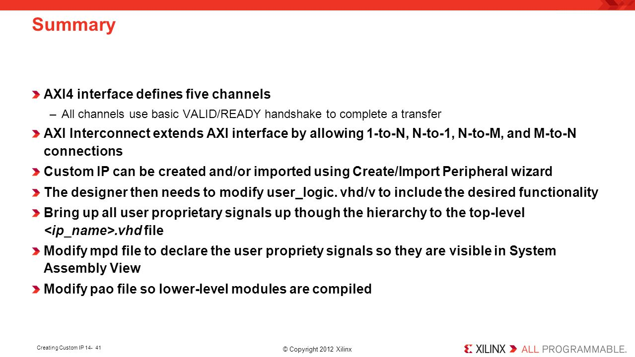 Summary AXI4 interface defines five channels
