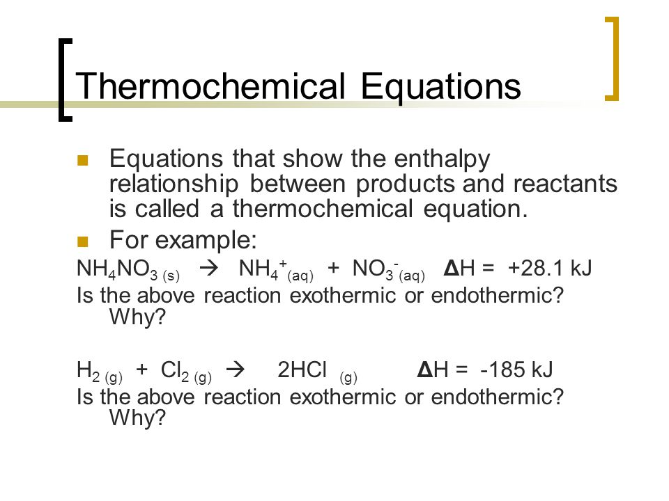 thermochemistry examples