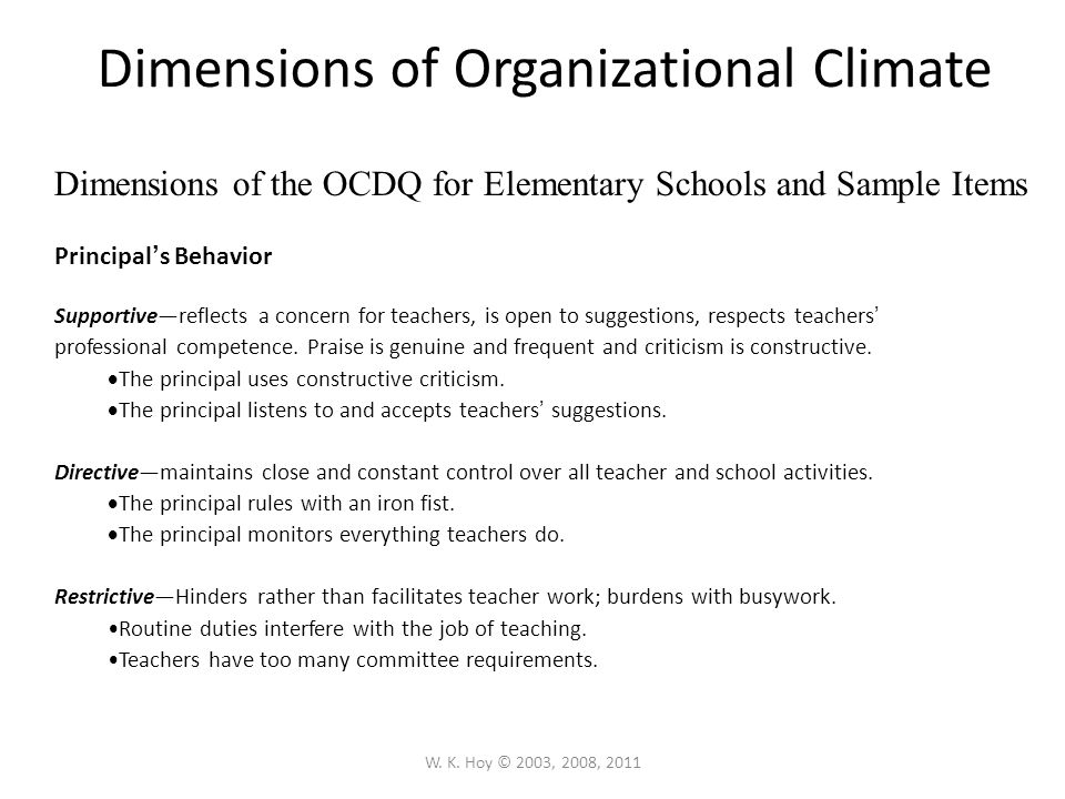 dimensions of organizational climate