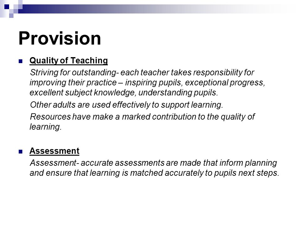 Provision Quality of Teaching