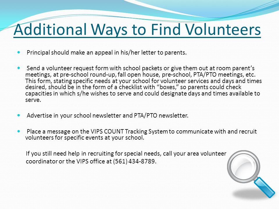 Vips school volunteer coordinator training ppt video online download additional ways to find volunteers thecheapjerseys Gallery