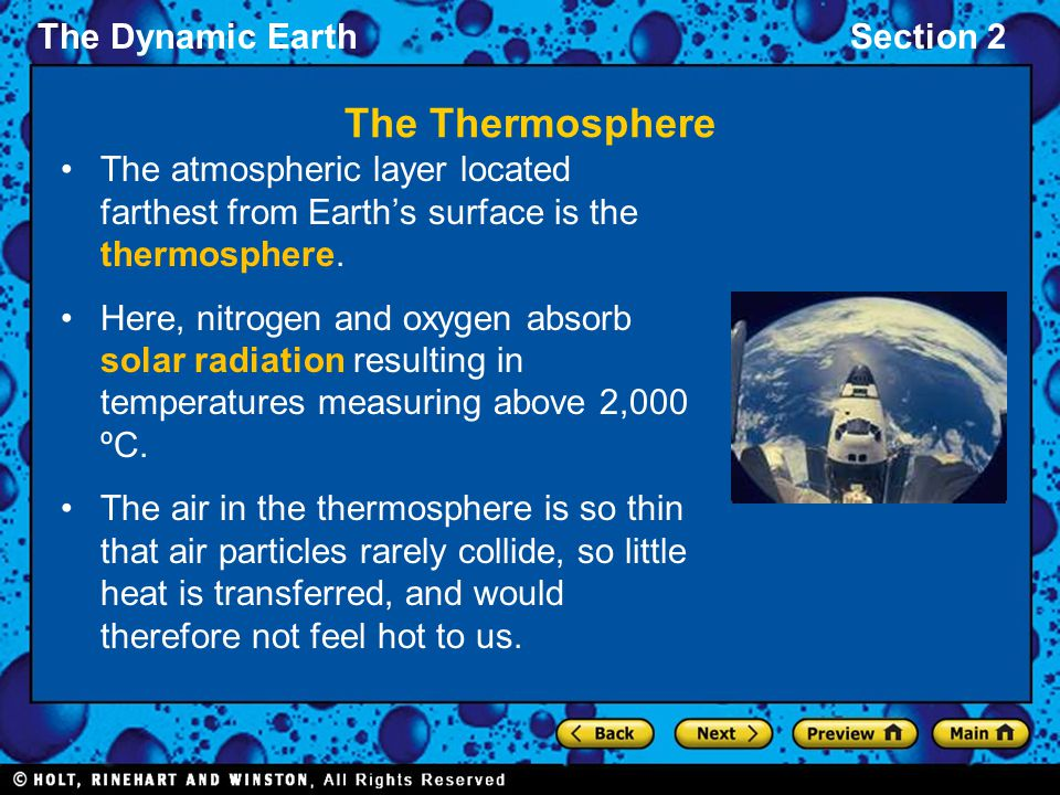 The Thermosphere The atmospheric layer located farthest from Earth's surface is the thermosphere.