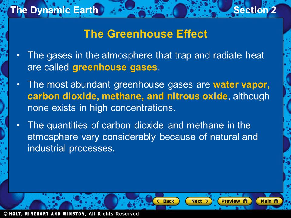 The Greenhouse Effect The gases in the atmosphere that trap and radiate heat are called greenhouse gases.