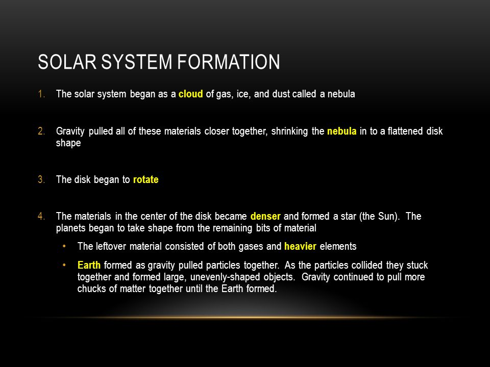notes: the formation of the solar sun, solar system and earth - ppt