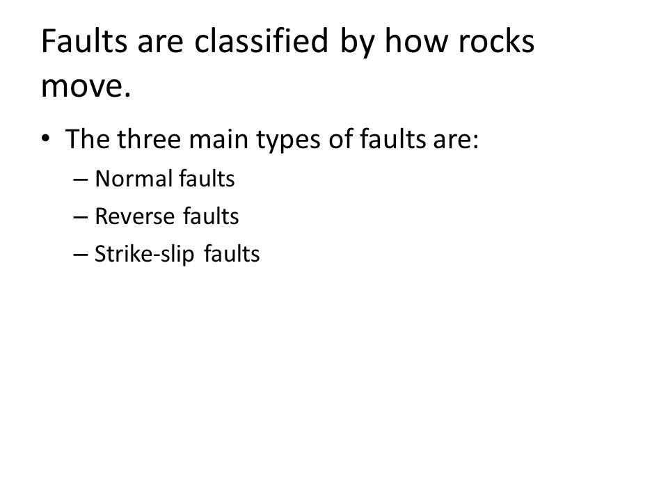 Faults are classified by how rocks move.