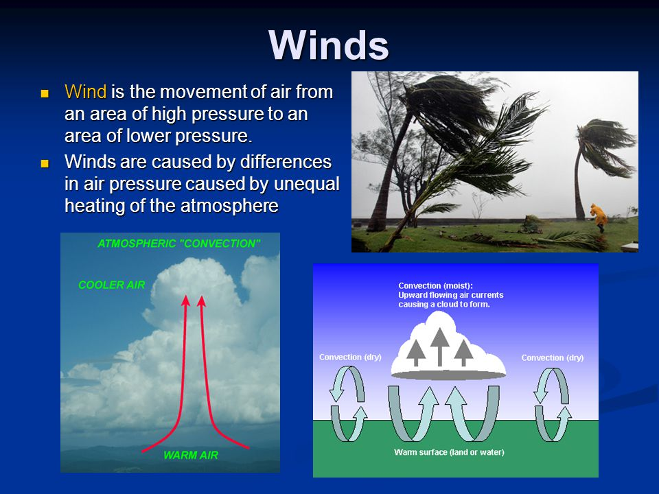 Winds Wind is the movement of air from an area of high pressure to an area of lower pressure.