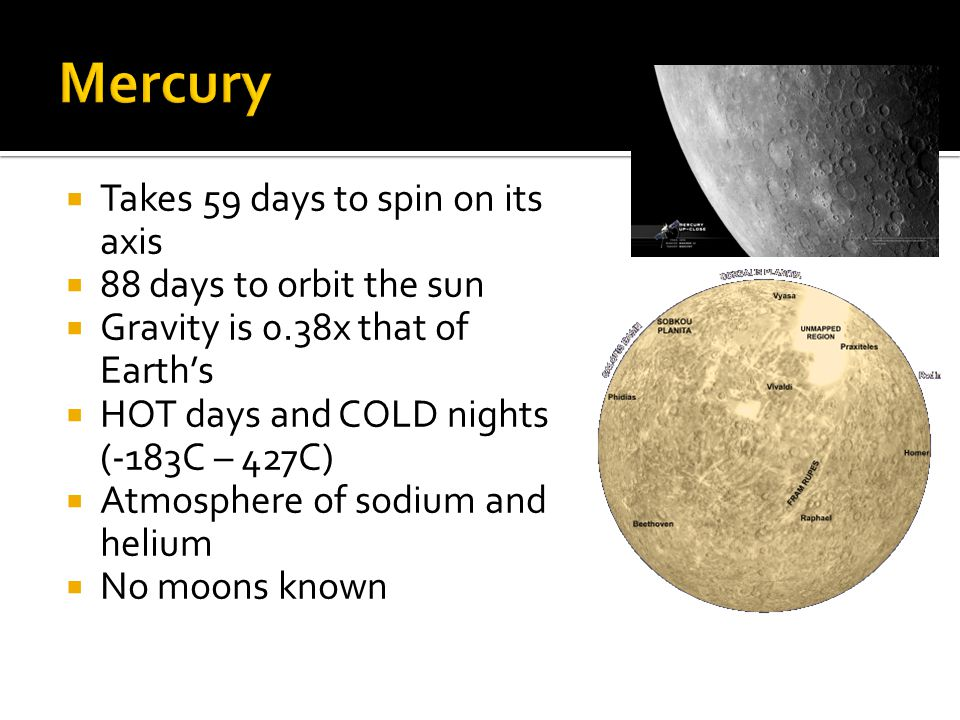 Mercury Takes 59 days to spin on its axis 88 days to orbit the sun