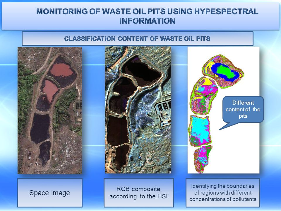 Monitoring of waste oil pits using hypespectral information