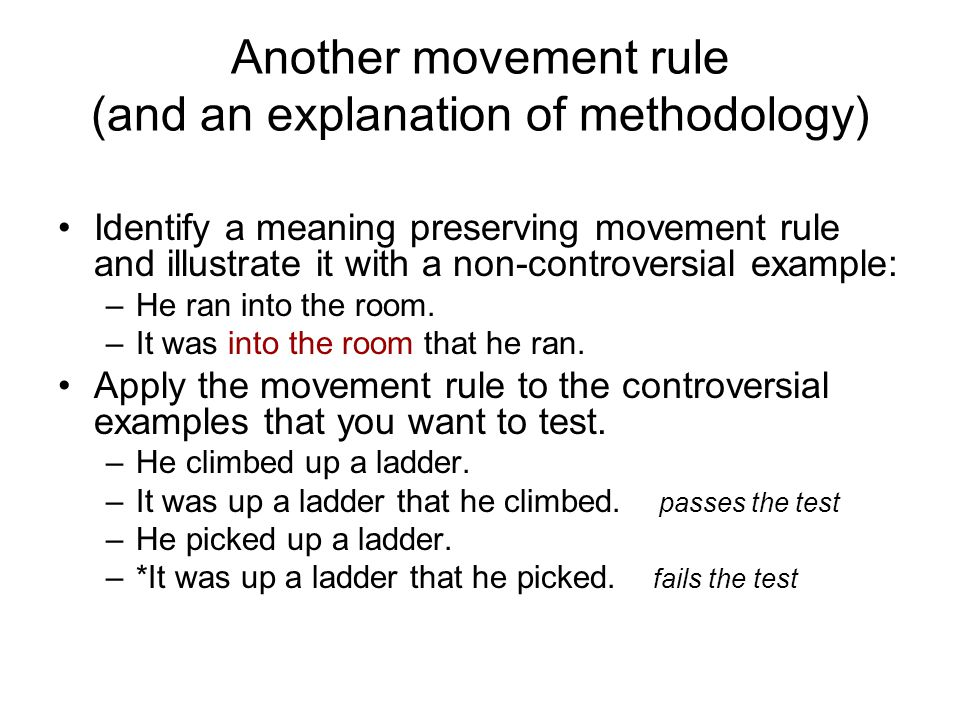 Another movement rule (and an explanation of methodology)