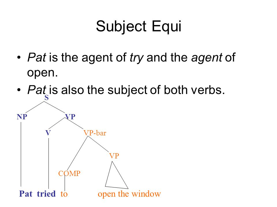 Subject Equi Pat is the agent of try and the agent of open.