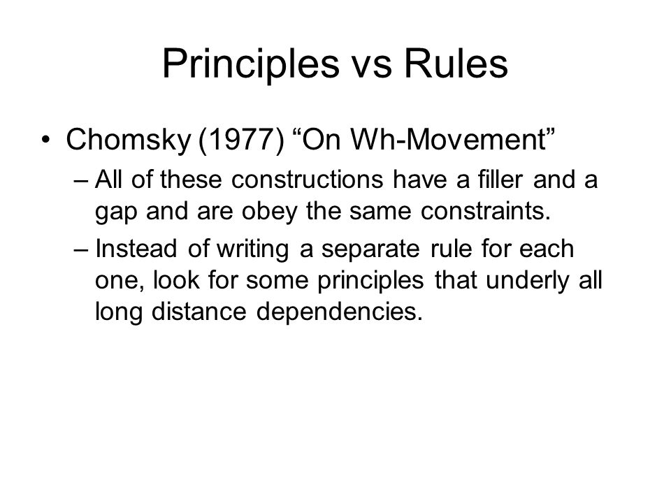 Principles vs Rules Chomsky (1977) On Wh-Movement