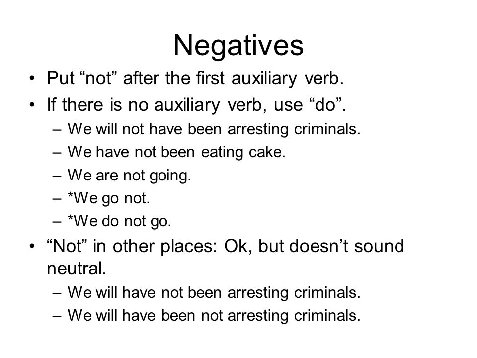 Negatives Put not after the first auxiliary verb.