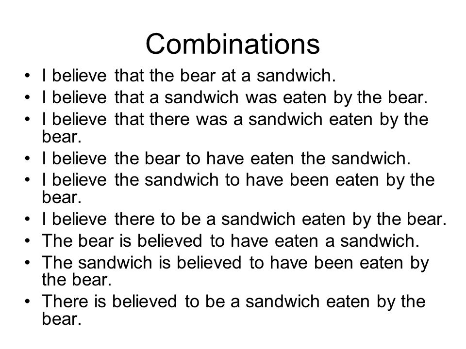 Combinations I believe that the bear at a sandwich.