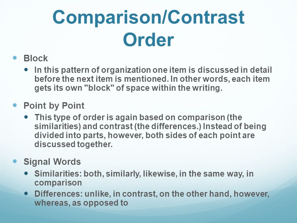 comparison and contrast order