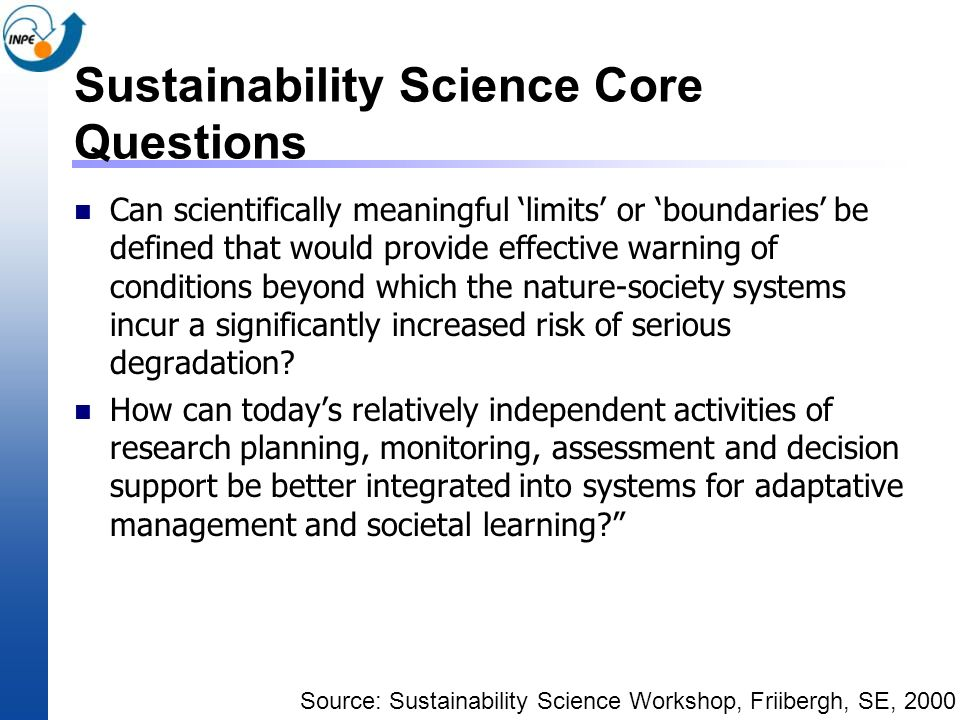Sustainability Science Core Questions