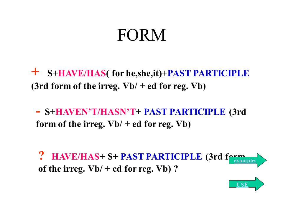 FORM + S+HAVE/HAS( for he,she,it)+PAST PARTICIPLE (3rd form of the irreg. Vb/ + ed for reg. Vb)