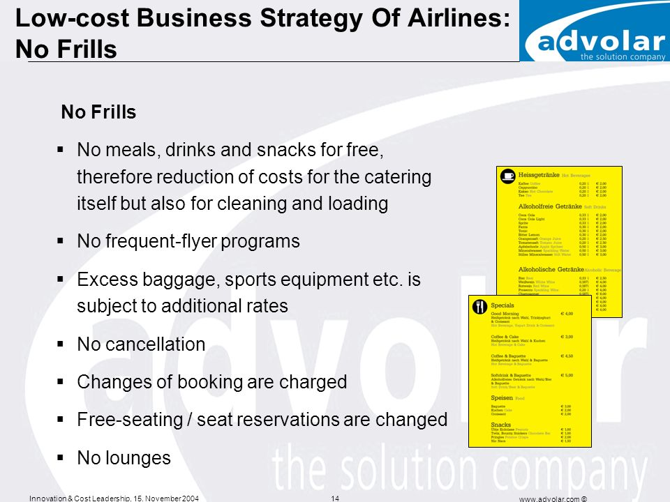 Low-cost Business Strategy Of Airlines: No Frills