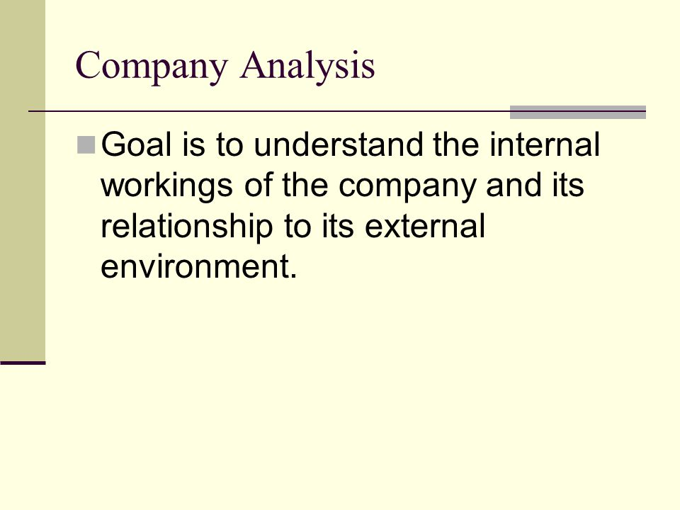 Company Analysis Goal is to understand the internal workings of the company and its relationship to its external environment.