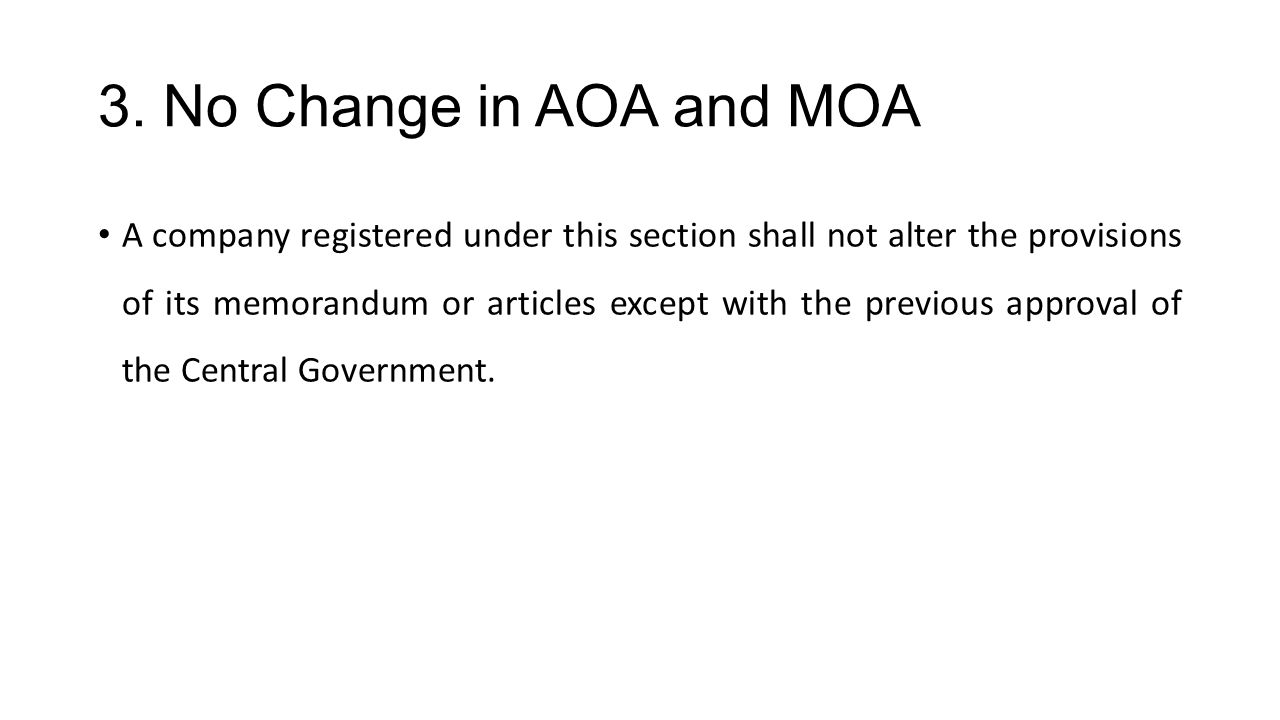 3. No Change in AOA and MOA