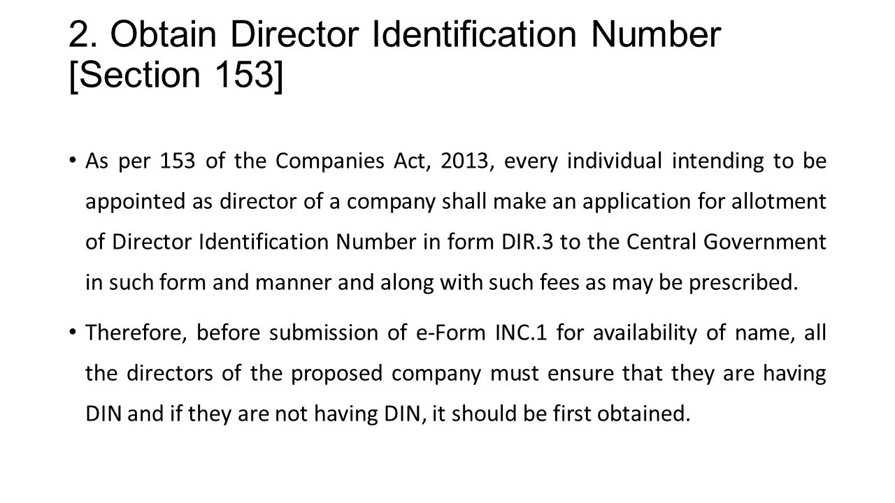 2. Obtain Director Identification Number [Section 153]