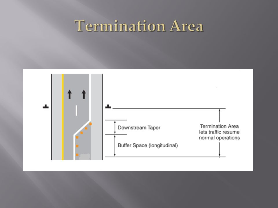 Termination Area 4. The termination area shall be used to return road users to their normal path.