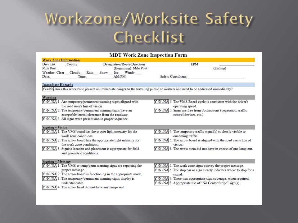 Workzone/Worksite Safety Checklist