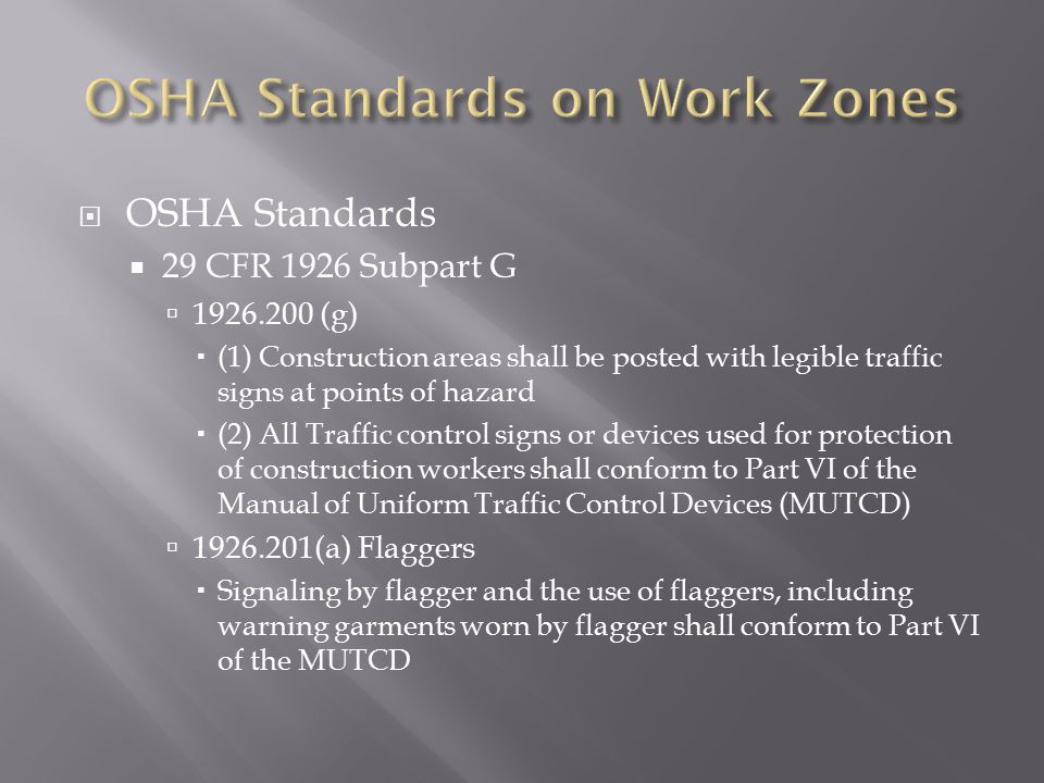 OSHA Standards on Work Zones
