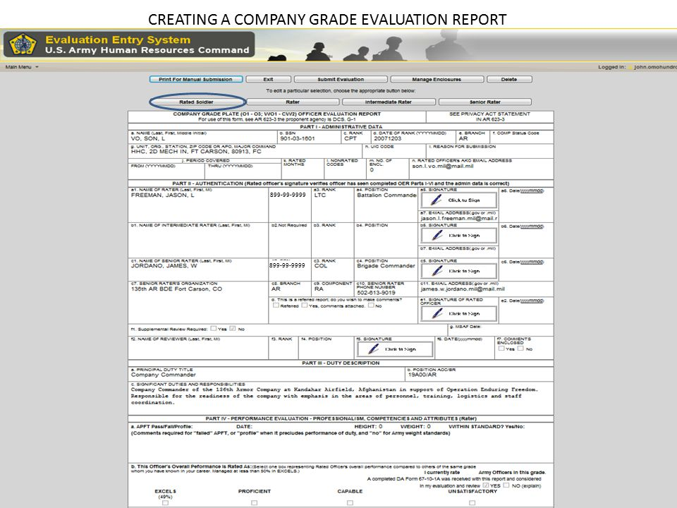 Creating a Company Grade OER from an OER Support Form - ppt ... on u.s. army mental evaluation example, warrant officer oer example, new army oer example, da 67 9 1a example, oer support form oct 2011, relief for cause ncoer example, army letter of recommendation example, field-grade oer example, oer support form lotus, oer support form word document, elevation plan example,