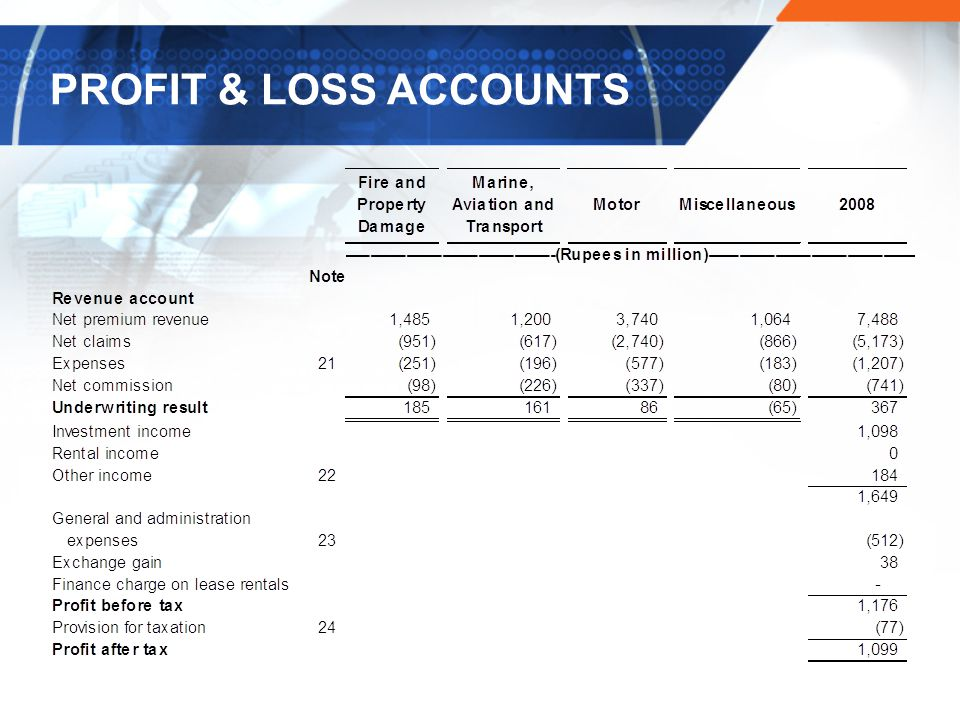 PROFIT & LOSS ACCOUNTS