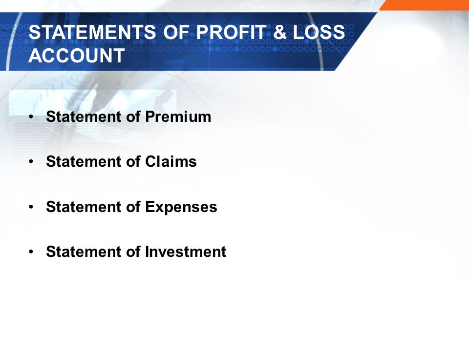 STATEMENTS OF PROFIT & LOSS ACCOUNT