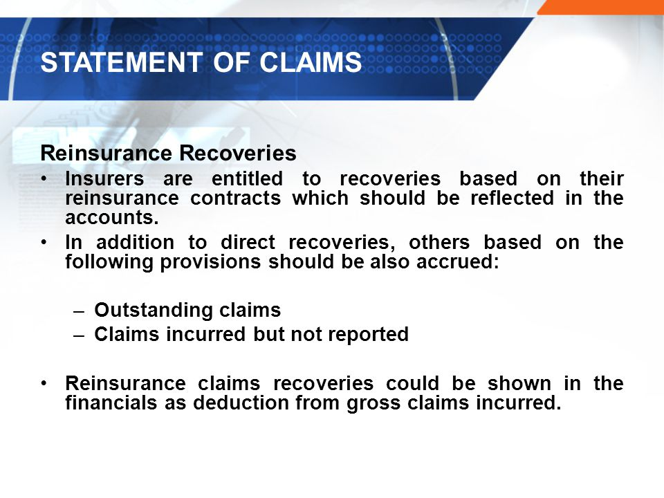 STATEMENT OF CLAIMS Reinsurance Recoveries