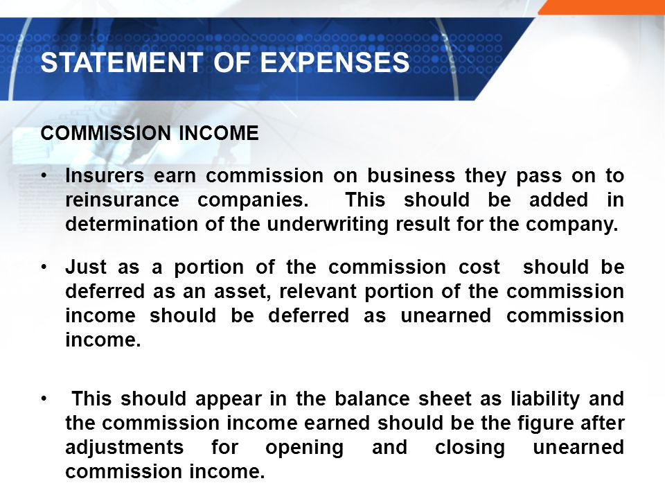 STATEMENT OF EXPENSES COMMISSION INCOME