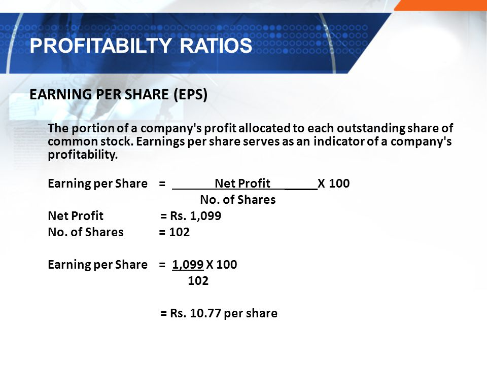 PROFITABILTY RATIOS EARNING PER SHARE (EPS)