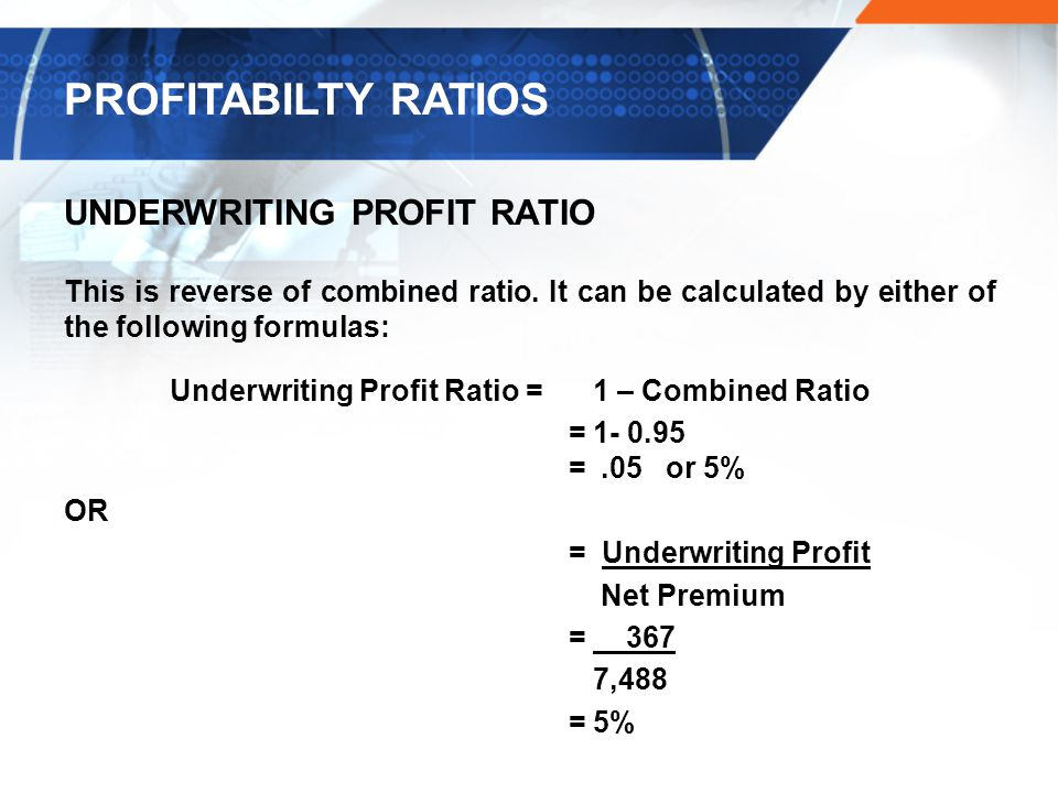 PROFITABILTY RATIOS UNDERWRITING PROFIT RATIO