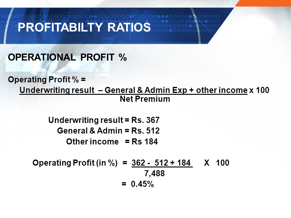 Underwriting result – General & Admin Exp + other income x 100