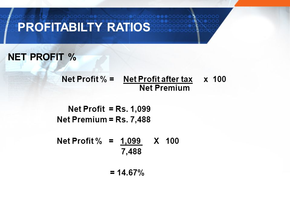 Net Profit % = Net Profit after tax x 100
