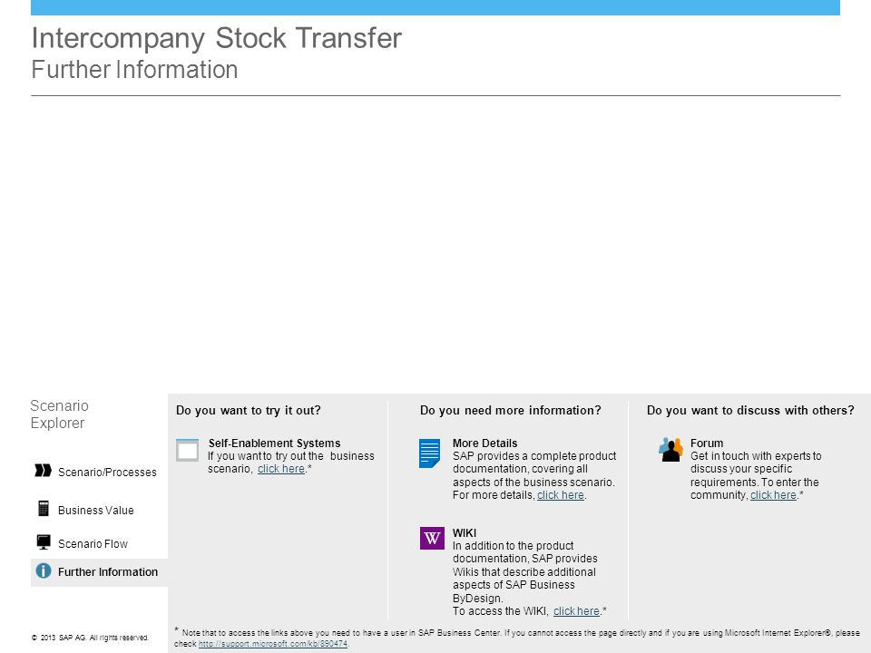 Intercompany Stock Transfer Further Information