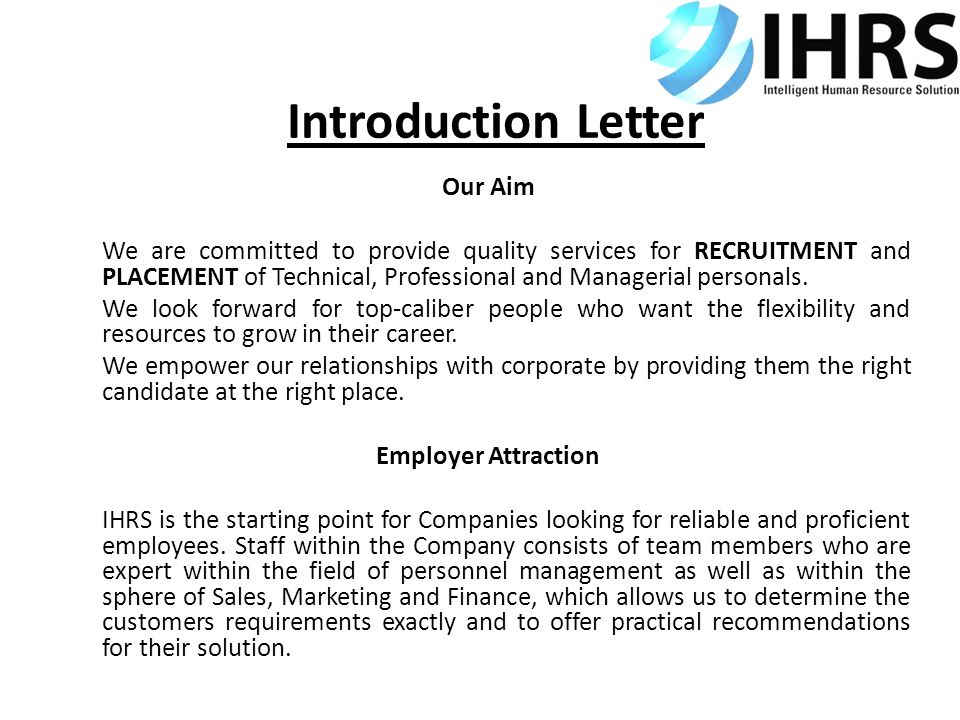 Introduction Letter Our Aim