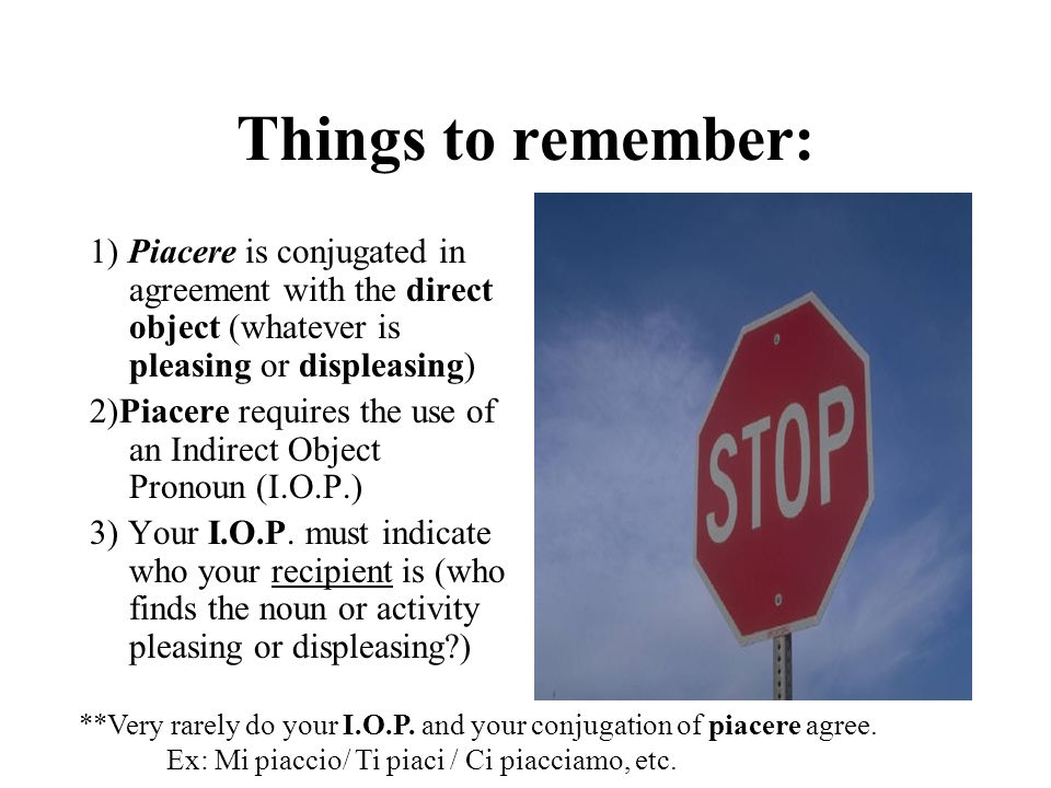 Things to remember: 1) Piacere is conjugated in agreement with the direct object (whatever is pleasing or displeasing)